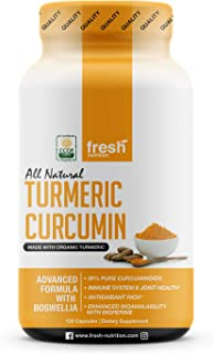 Organic Turmeric Curcumin with Added Boswellia & Bioperine for Potent Joint & Inflammation Support - Best Natural Joint Pain Relief - 120 Capsules - Organic - Non GMO - Vegan NO Gluten