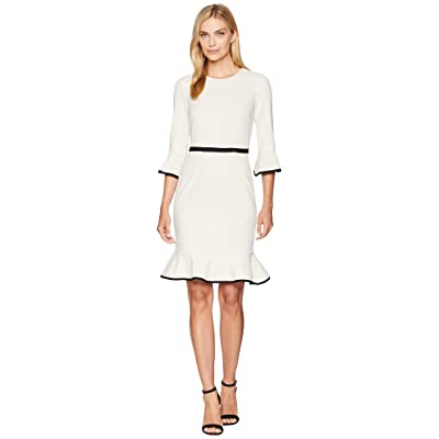 Donna Morgan Sheath Dress with Flounce and Piping (Horn/Black) Women