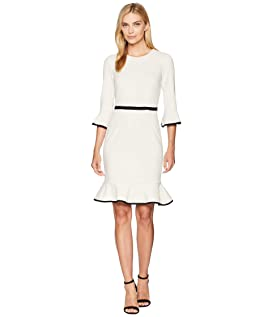 Sheath Dress with Flounce and Piping
