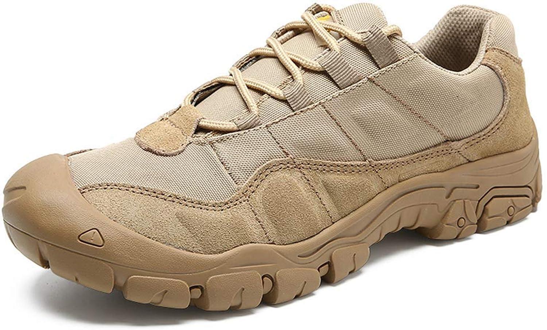 ZHRUI Outdoor Men Hiking shoes Waterproof Breathable Boots Desert Training Sneakers Anti-Slip Trekking shoes (color   Beige, Size   9.5=44 EU)