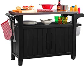 BBQ Prep Table Outdoor Portable Stainless Steel Top Grill Prep Mobile Cooking Station Indoor Outdoor Storage Cabinet Deck Patio Backyard Furniture Weather-Resistant Adjustable Legs & eBook BADA Shop