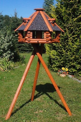 Deko-Shop-Hannusch XXL Vogelhaus, Blickfang, Vogelfutterhaus aus Holz, 70x45 cm, V13s XXL mit Ständer