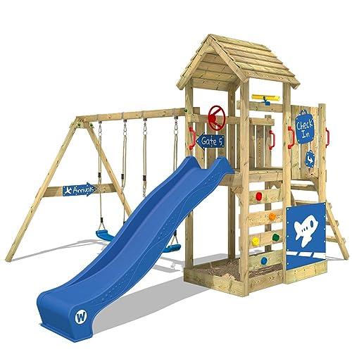 WICKEY Aire de jeux MultiFlyer DeLuxe Jeu de plein air Tour d'escalade avec toit en bois, toboggan, 2 balançoires et bac à sable