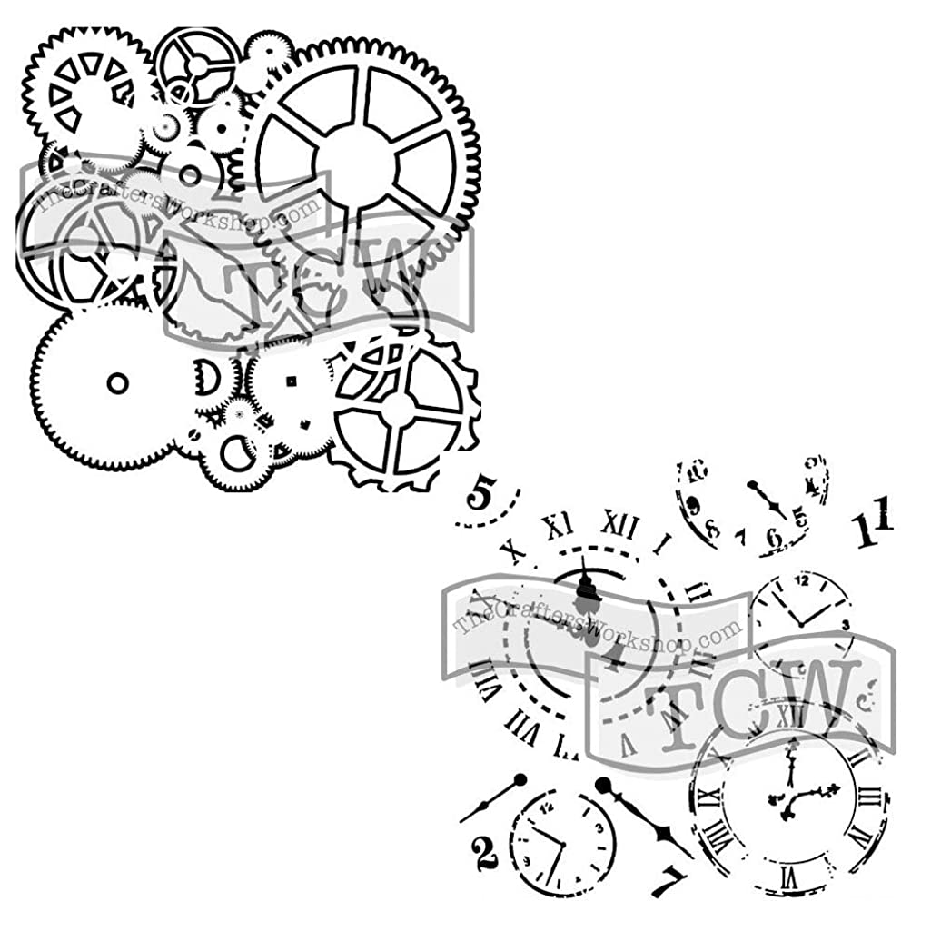 Crafter's Workshop Stencil 2 Pack, Reusable Stenciling Templates for Art Journaling, Mixed Media, and Scrapbooking - TCW262 Gears & TCW201 Time Travel