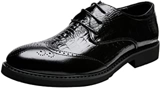 SHENTIANWEI Business Oxford for Men Formal Shoes Lace Up Genuine Leather Waxy Shoelaces Point Toe Perforated Wingtip Brogue Carving Faux Crocodile Skin (Color : Black, Size : 7 UK)