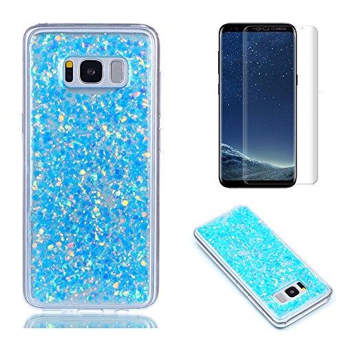 Pour Coque Samsung Galaxy S8 Silicone Souple Étui avec Écran Protecteur, OYIME [Paillette Brillante Bleu] Housse Glitter Luxe Ultra Fine Transparent Couverture Anti-Scratch Flexible