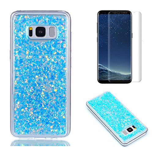 Pour Coque Samsung Galaxy S8 Silicone Souple Étui avec Écran Protecteur, OYIME [Paillette Brillante Bleu] Housse Glitter Luxe Ultra Fine Transparent Couverture Anti-Scratch Flexible