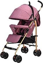 Department Store Sillas de Paseo Cochecito de bebé Paraguas Puede Sentarse y reclinación Ligero Plegable Carro de bebé del Cochecito Ligero de Cuatro Ruedas de la Cesta (Color : Pink)