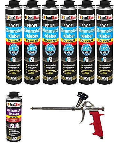 SET Dämmstoffkleber 6 Dose 750ml Klebeschaum Perimeterkleber Kleber für Dämmung EPS XPS + 1 Reiniger + 1 Schaumpistole