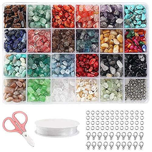 Sonline Juego de Aretes de Cuentas de Cristal para Hacer Joyas con Fragmentos de Cuentas de Piedras Preciosas Irregulares, Collares y FabricacióN de Pulseras