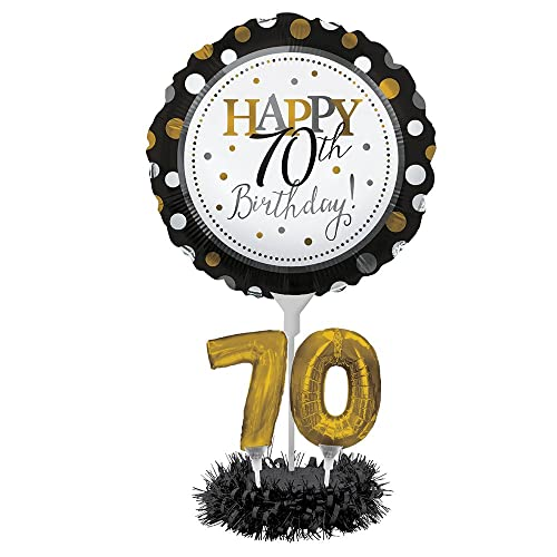 Creative Converting Happy 70th Birthday Balloon Centerpiece Black And Gold For Milestone