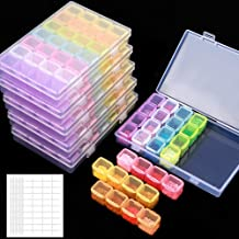 SGHUO 6 Pack 28 Grids Diamond Painting Boxes Diamond Embroidery Storage Boxes with 400pcs Label Stickers for Sewing, Nail ...