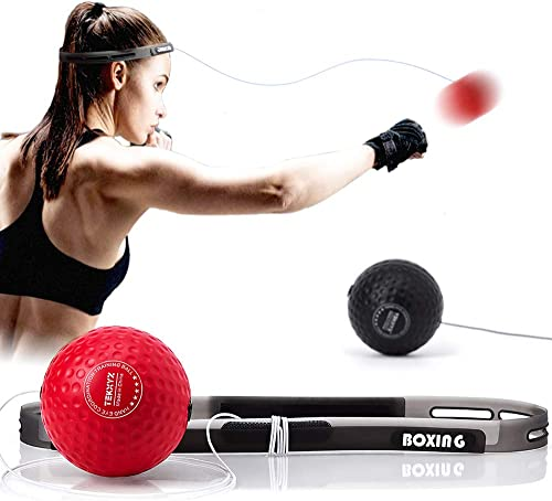 TEKXYZ Boxing Reflex Ball, 2 Difficulty Level Boxing Ball with Headband, Softer Than Tennis Ball, Perfect for Reactio...