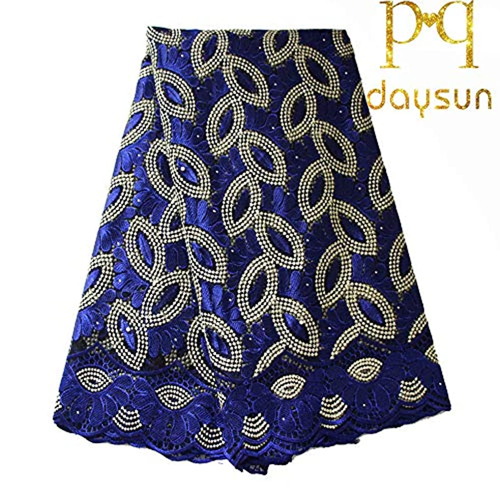 African Lace Fabric Nigerian French Lace Net Fabric Embroidered Fabric 5 Yards for Wedding Party F50732 (Royal Blue)