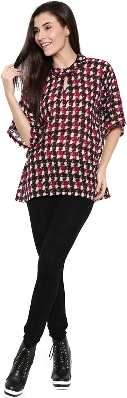 The Kaftan Company Pink Wool ThreeQuarter Sleeve Key Hole Neck Abstract Boxy Top for Women