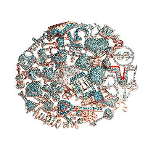 Bling Rhinestone Charms EllyBling Fashion Alloy Charm Set for Jewelry Making Accessories DIY, 35 PCS (rose gold plated aqua rhinestone)