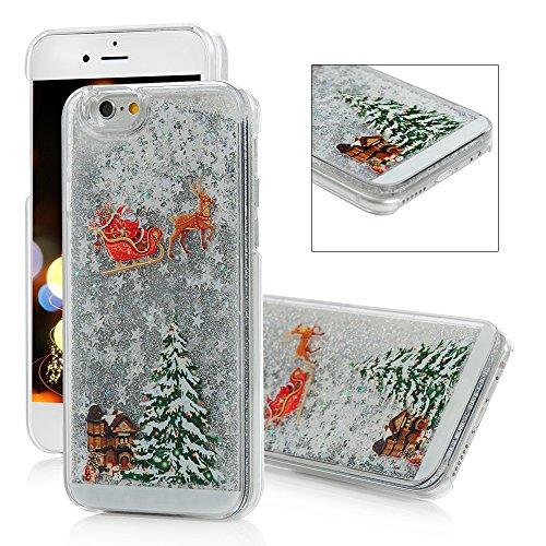 Mavis's Diary - Cover protettiva per iPhone 6/6Plus, collezione natalizia, con liquido glitterato e stelle, trasparente, White, iPhone 6 4,7''