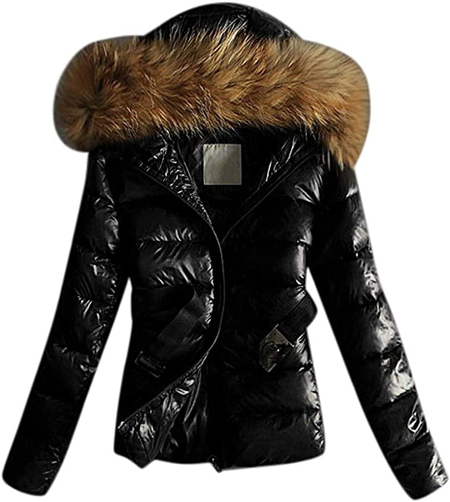 E-Scenery Women Coats, Outwear Quilted Winter Warm Fur Collar Hooded Thicken Jacket Tops