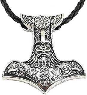 Viking Necklace Norse Amulet Pendant Leather Chain Necklace Celtic Pagan Viking Symbol Jewelry for Men Unisex