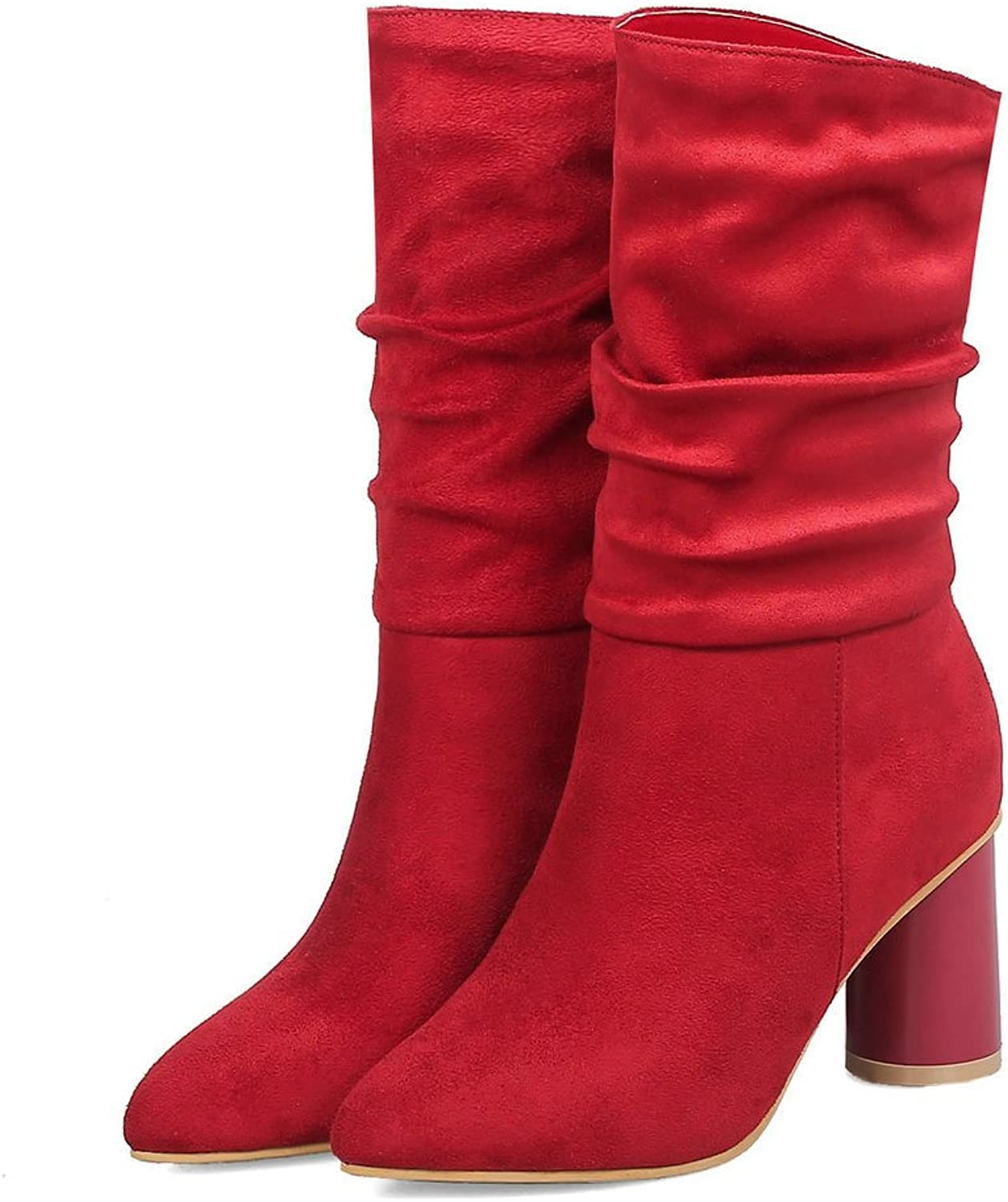 AnMengXinLing Fashion Women Mid Calf Boots Suede Block High Heel Pointed Toe Trendy Fold Stretchy Slip On Dress Boots