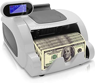 Money Counter with Counterfeit Detector - Automatic Digital Bill Counter, Cash Counting Machine w/Top Loader, Swivel LCD Display, Counts U.S Canadian Dollar, Euro and Pound Banknote - Pyle PRMC100.5
