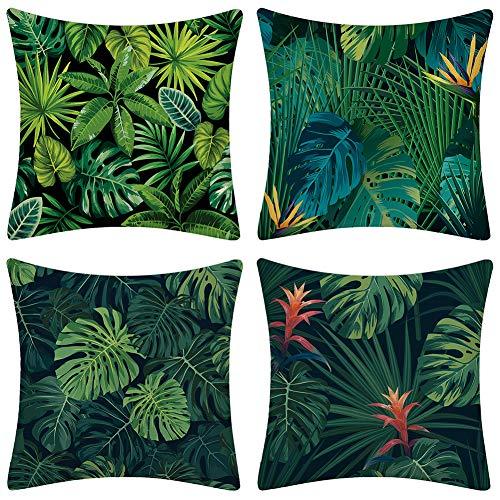 JOTOM Tropische Pflanzen Blätter Kissenbezug Blumen Dekorative Sofa Kissen Fall Grüner Dschungel Dekokissen 45x 45cm 4er Set (Grünes Blatt A)