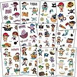 SZSMART Piraten Tattoo Kinder, Kindertattoos Piraten Temporäre Tattoo Set Aufkleber für Kinder Party Mitgebsel Kindergeburtstag Geschenktüten Kinder Spielen Piraten Party Zubehör