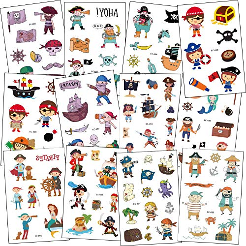 SZSMART Pirata Tatuajes Temporales para Niños, 12 Hojas Pirata Tatuaje Falso Pegatinas Juegos Infantiles Regalo de Cumpleaños Fiesta Pirata