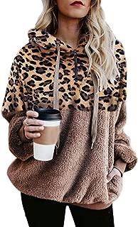 Women's 1/4 Zipper Leopard Long Sleeve Hoodie Sweatshirt with Pockets