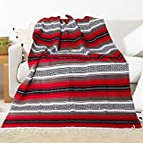 Eccbox 72 X 51 Inch Mexican Throw Blanket with Assorted Bright Colors Woven Mexican Falsa Serape Blankets for Yoga, Picnic, Bedding, Home Decor, Tablecloth (Red)