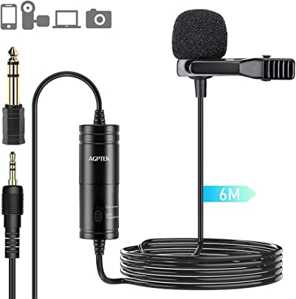 AGPTEK Lavaier Microfono Condensatore Omnidirezionale per PC Cellurari Camere con Clip Riduzione del Rumore e Ideale per Youtuber/Intervista/Conferenza Video/Podcast Cavo da 6M, AC05B, Nero - Trova i prezzi più bassi