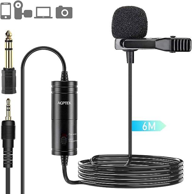 AGPTEK Z05 Micrófono de Solapa Omnidireccional Micrófono de Condensador con 6M Cable para Móvil PC Cámara Grabadora