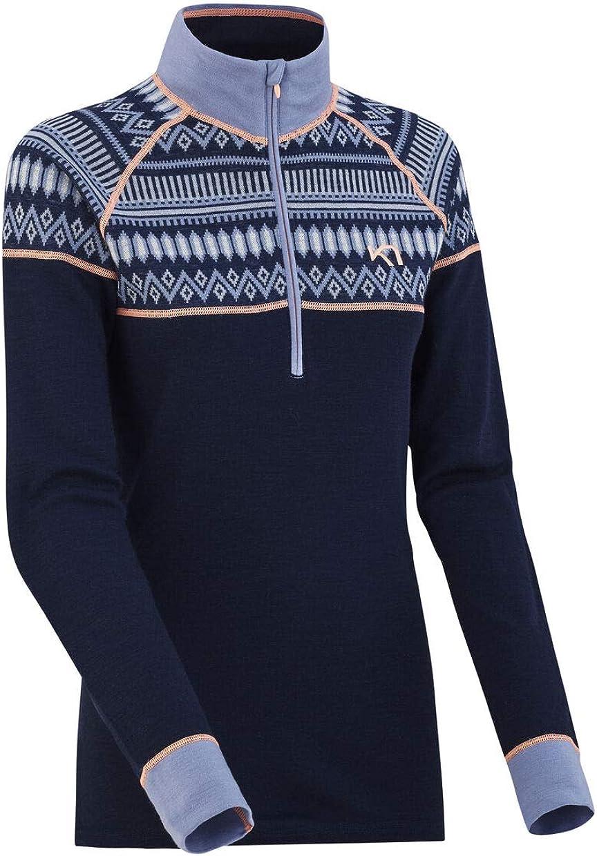 Kari Traa Women's Lokke Half-Zip Baselayer Top - Premium 100% Merino Wool Fitted Long Sleeve Shirt