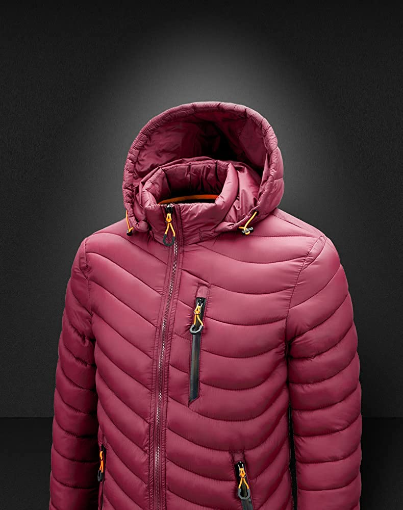 Men's Alternative Down Puffer Jacket Winter Coat Warm Puffer Jacket Thicken Cotton Coat with Removable Hood