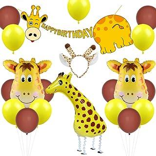 Giraffe Birthday Party Decorations Walking Giraffe Balloon Headband Happy Birthday Banner for 1st 2nd 3rd Birthday or Baby...