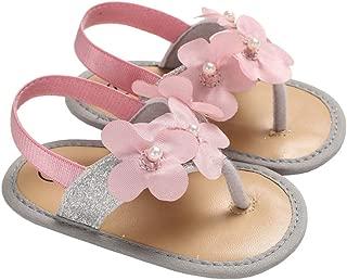 lakiolins Baby Girls Flower Bundles Sparkle Flip Flops Summer Clip Toe Beach Sandals