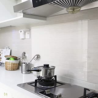REDODECO 4Pcs Kitchen Backsplash Wallpaper Stickers Waterproof Oilproof High Temperature Resistant Transparent Environment-Friendly PVC