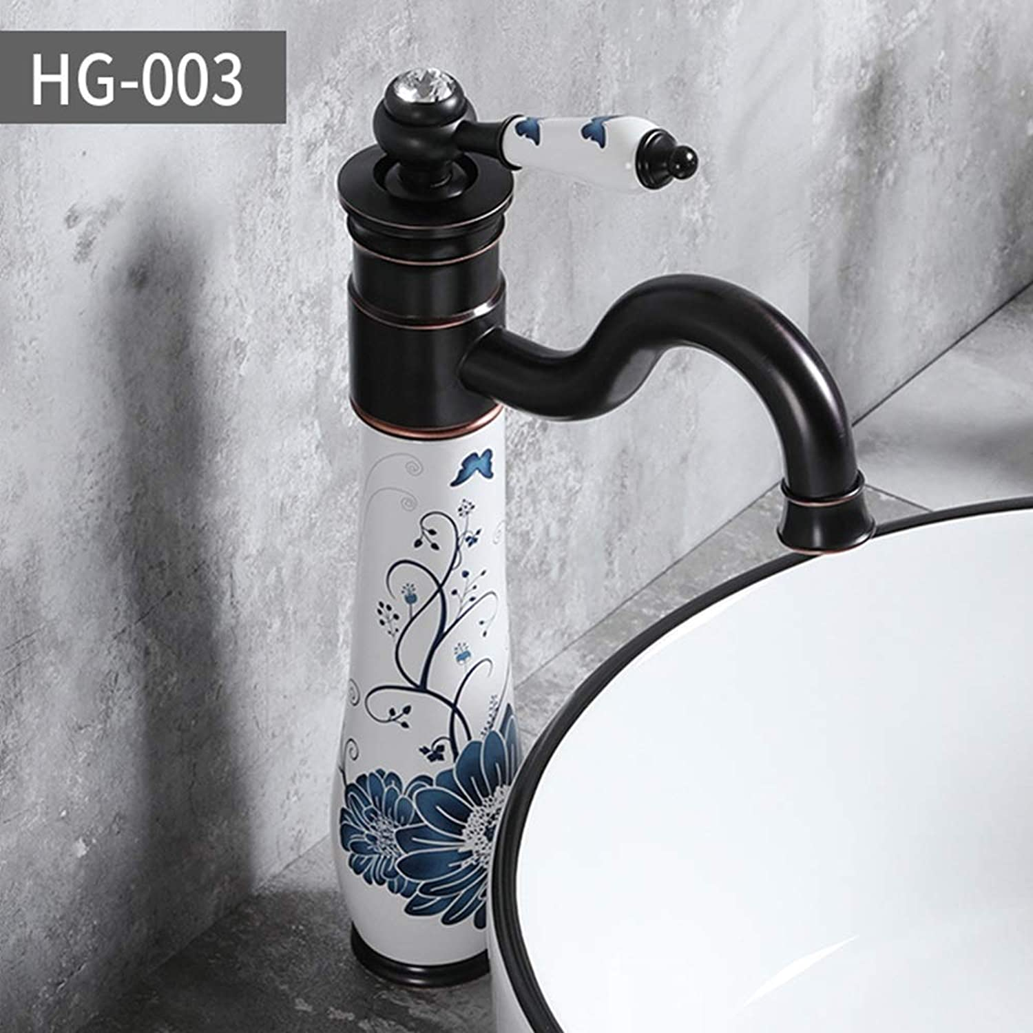 color Ceramic Art Faucet Personality Creative Copper ORB Plating Art Cold Water Hot Water Optional Simple Fashion Faucet Bathroom Sink Taps (color   HG-003)