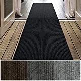 iCustomRug Spartan Weather Warrior Duty Indoor/Outdoor Utility Ribbed in 3ft,4ft,6ft Widths 70 Custom Sizes with Natural Non-Slip Rubber Backing 3' x 9' in Black