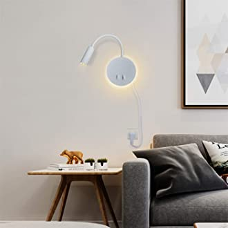 Budbuddy LED wandlampe mit schalter Modern Leselampen Bettlampe Wandleuchte innen Leselicht Schwenkbar Wandbeleuchtung Flur Schlafzimmer Hotels Nachttischlampe 11W Schwarz//Warmwei/ß-2