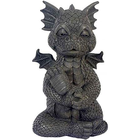 MystiCalls Drachen Deko Figur GD-292 Gartenfigur Gartendrache Yoga