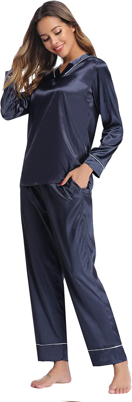 Hawiton Pijama Mujer Saten Pijamas Raso Mujer Invierno de Manga Larga Kimono Sat/én Ropa de Casa 2 Piezas