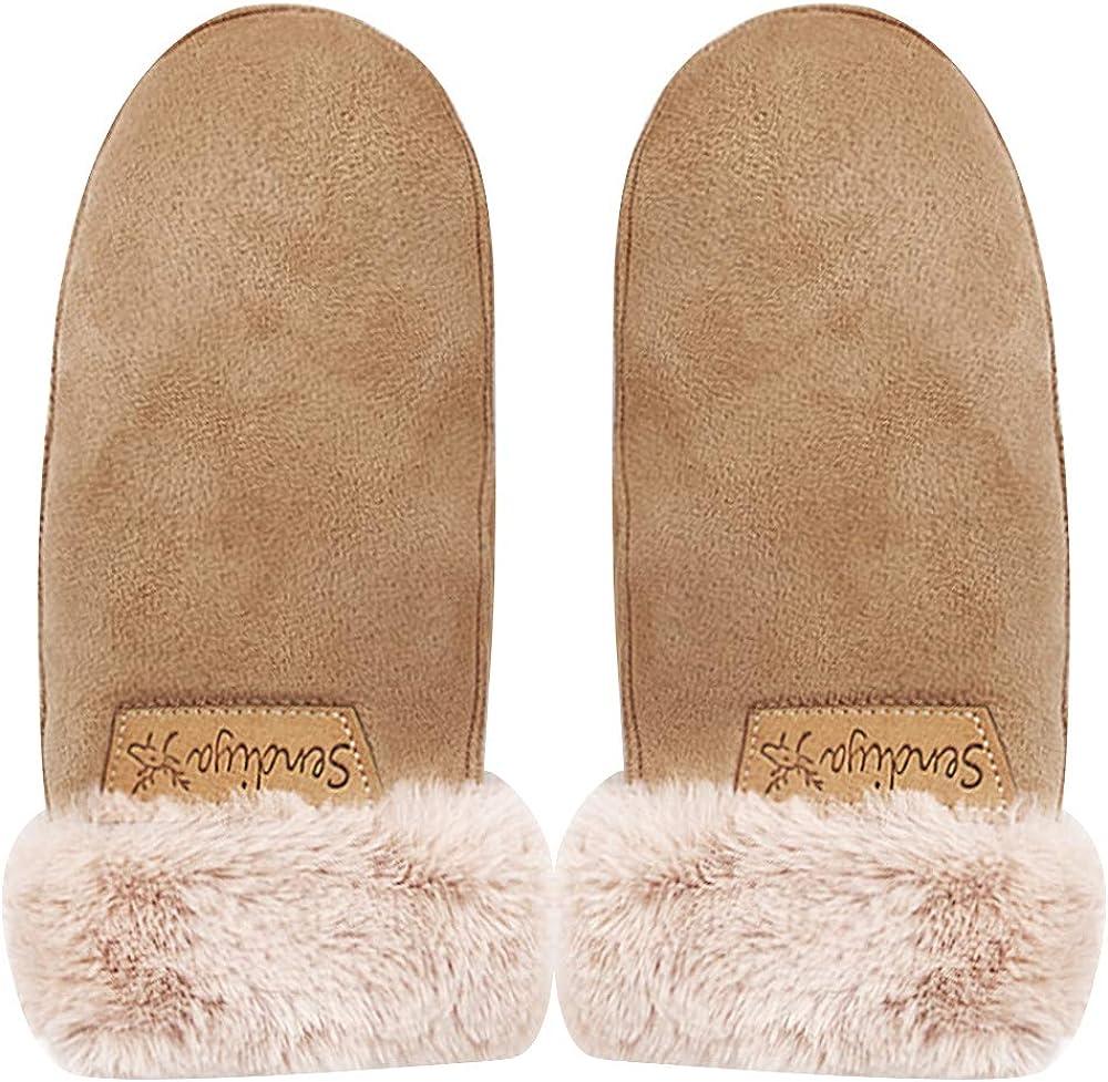 Men Women Suede Thermal Winter Warm Gloves Ladies Mittens With Plush Cuffs