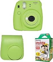 Fujifilm Instax Mini 9 Instant Camera with Instax Groovy Camera Case (Lime Green) & Instax Mini Instant Film Twin Pack