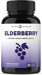 Elderberry Capsules 1200mg - Premium Supplement for Powerful Immune System Support & Relief from Cold, Flu & Allergies - Black Elder Berry Extract Nigra Antioxidant Vitamin - 60 Vegan Pills