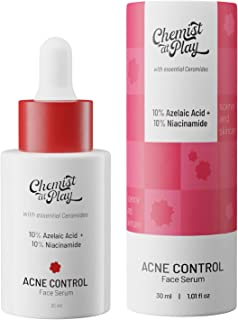 Chemist at Play Acne Control Face Serum with Ceramides | 10% Azelaic Acid + 10% Niacinamide | All Skin Types | For oil con...