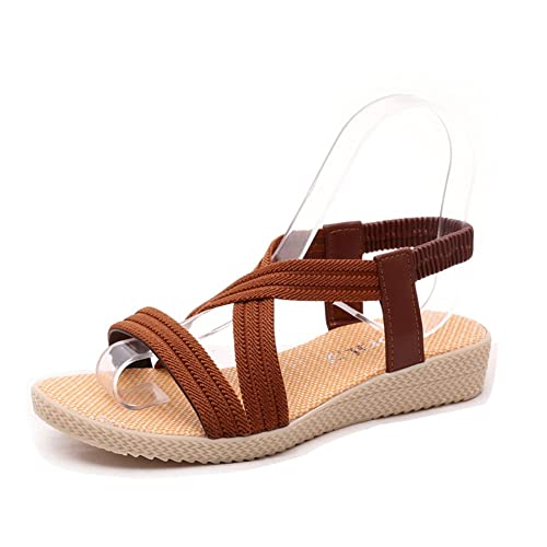 14a03f0e9a2 Women s Summer Low-Heeled Elastic Straps Sandals