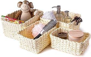 Lot de 4 paniers de rangement en corde tressée pour chambre d'enfant, cuisine, salle de bain (Beige)