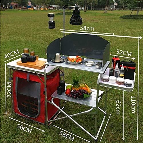 619Vp2uOVGL - Klappbarer Camping-Tisch Tragbarer Picknicktisch Aluminiumlegierung 1680D Oxford-Stoff Mobiler Küchentisch Kochtisch Aufbewahrungstisch für Gartenpatio BBQ Party lili