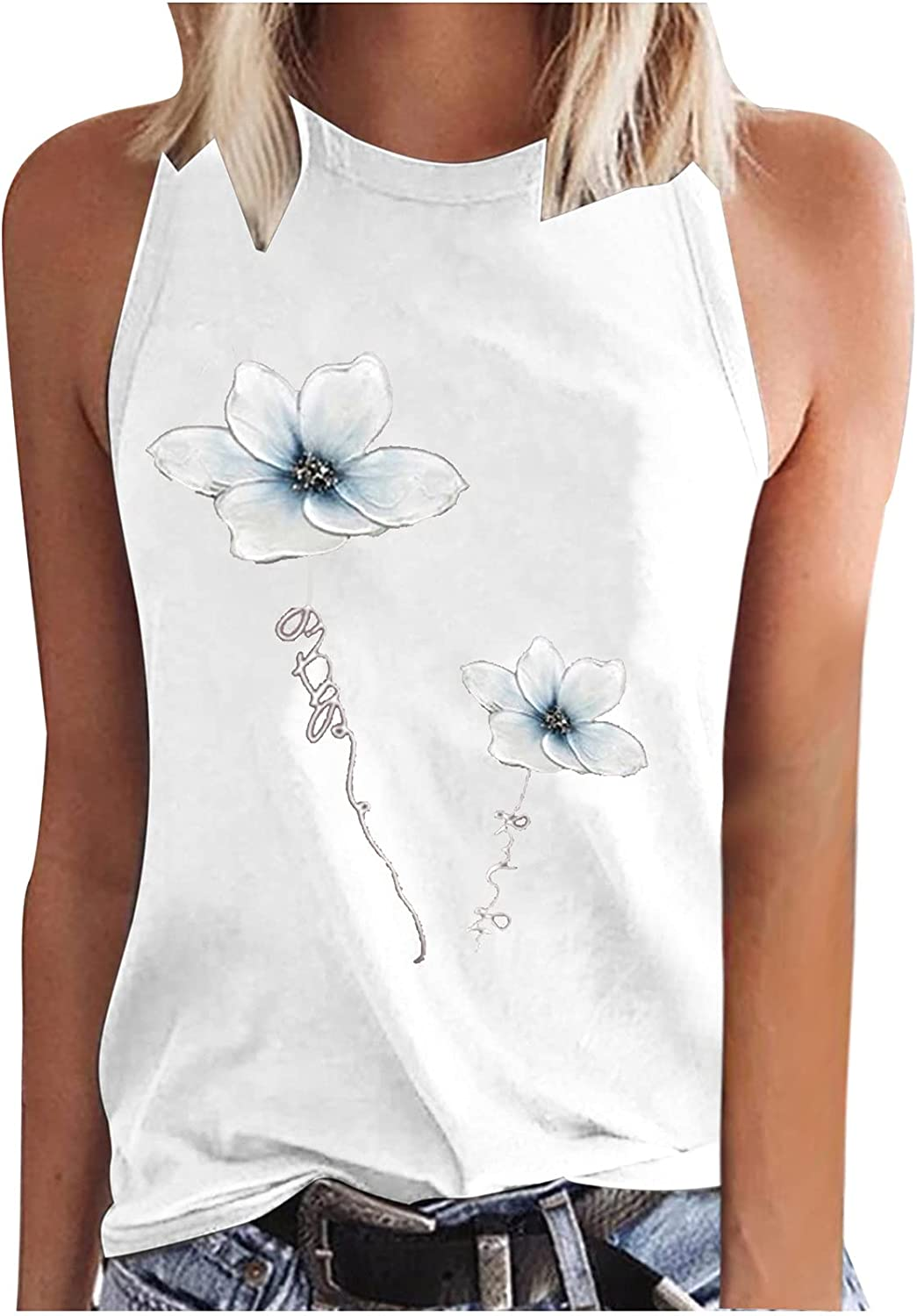 Womens Summer Sexy Workout Tops Fashion Casual O-Neck Sleeveless Loose Fit Tunic Tees Lotus Printed Soft Vest Blouses